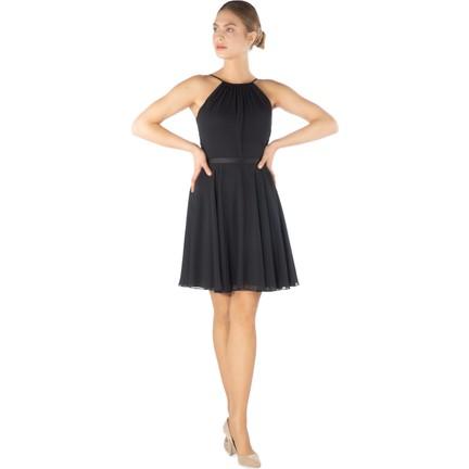 f9c0c29999378 6Ixty8Ight Siyah Saten Garnili Kısa Abiye Elbise Fiyatı