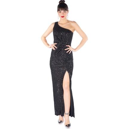 16aad10b5e9cf 6Ixty8Ight Siyah Payetli Desenli Tek Omuz Uzun Abiye Elbise Fiyatı