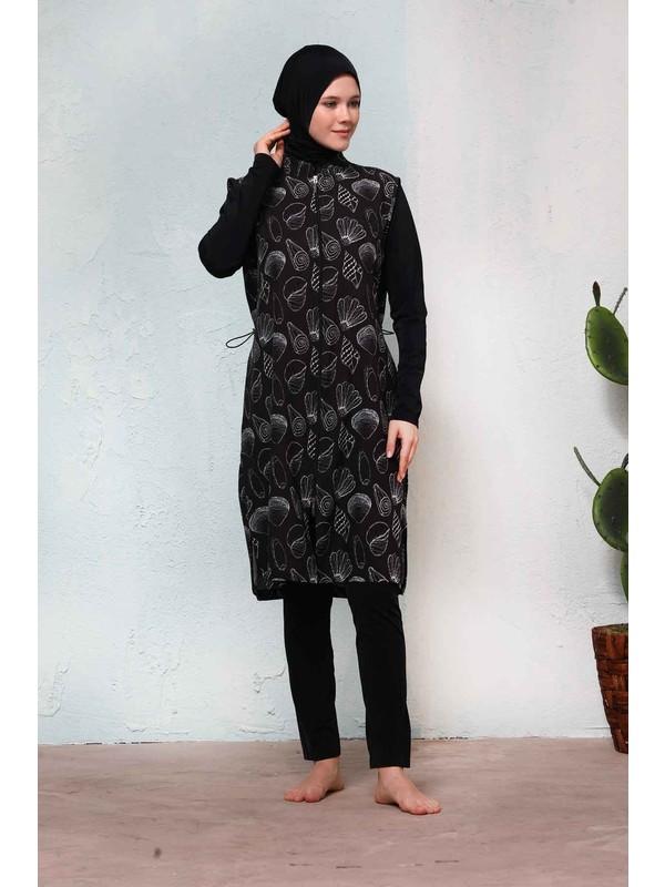 Haşema Kadın Siyah Deniz Kabuğu Desenli Tesettür Mayo H-2503ELİF