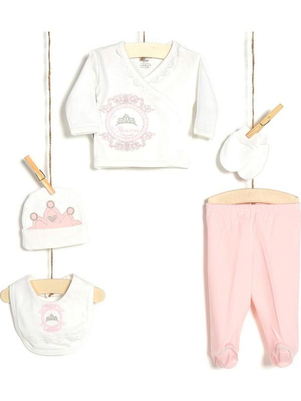 Miniworld Kız Bebek Hastane Çıkışı 5'li Zıbın Seti Pudra 14278