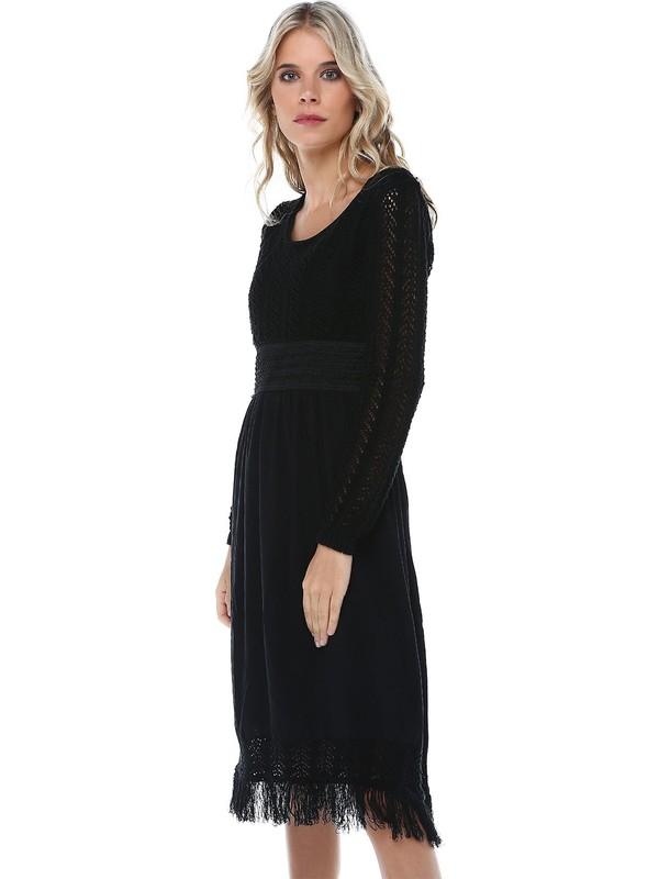 Modkofoni Kuş Gözlü Saçaklı Siyah Triko Elbise