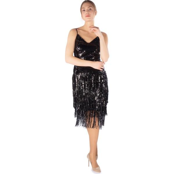 e605095189ecc 6Ixty8Ight Siyah Saçak Payetli Kısa Abiye Elbise - 36 Fiyatları ...