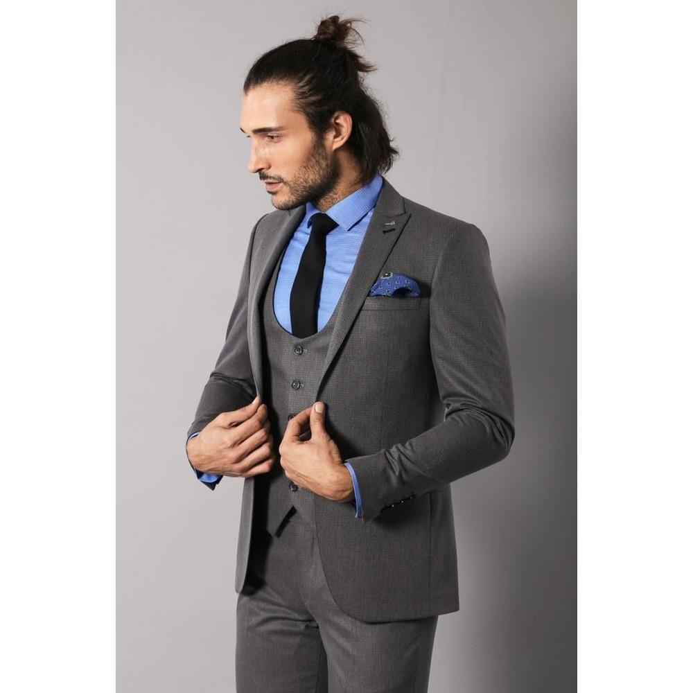 bab1a73e06259 Wessi Kendinden Desenli Yelekli Füme Takım Elbise Fiyatı