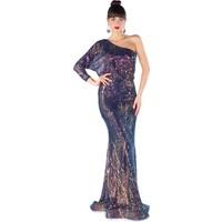 Carmen Ametis Payetli Tek Kollu Balık Abiye Elbise