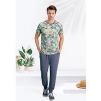 Arnetta Santa Monica Gri-Yeşil Erkek Pijama Takımı