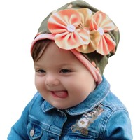 Babygiz Haki Renk Üstüne Somon Puantiyeli Düğme Ve Fiyonk Aksesuarlı Bere&Şapka