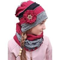 Babygiz Gri Kırmızı Siyah Çiçek Aksesuarlı Şapka Boyunluk Takım