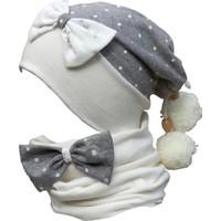 Babygiz Gri Beyaz Yıldız Desenli Ponpon Detaylı Şapka Boyunluk Takım
