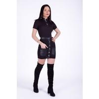 Ewa Moda Deri Detay Kaskorse Etek Takım Siyah