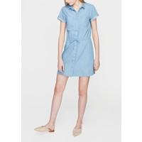 Mavi Beli Büzgülü Denim Elbise