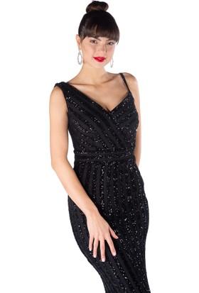 577e215f2365f ... Pierre Cardin Siyah Payetli Çizgili Uzun Balık Abiye Elbise ...