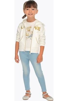 Mayoral Kız Çocuk Kot Pantolon Taşlanmış 548 Buz Mavi