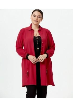 133f0501504cd Gala-Xi Kadın Büyük Beden Beli Bağcıklı Önden Düğmeli Tunik Kırmızı ...