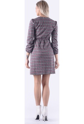 İroni V Yaka Ekose Gri Mini Elbise - 5219-1270 Ekose-Gri