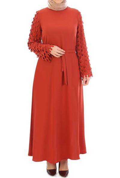 Miostil Ülf- Kol Lazerli Kuşaklı Elbise
