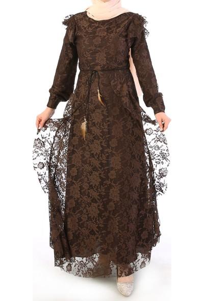 Miostil Mrc-Fırfır Detay Dantel Elbise