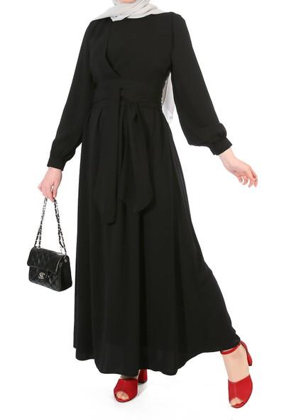 Miostil Ülf-Ön Çapraz Detay Kuşaklı Elbise