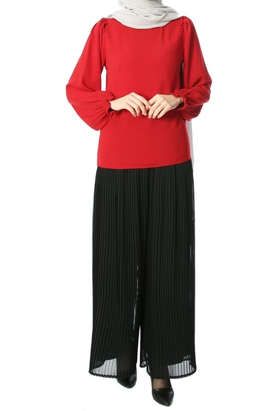 Miostil Nak-Omuz Fırfır Detay Kol Lastikli Bluz