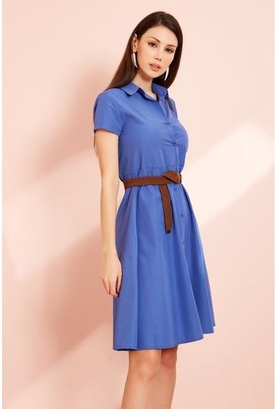 Freestar Düğmeli Kemerli Elbise-Saks