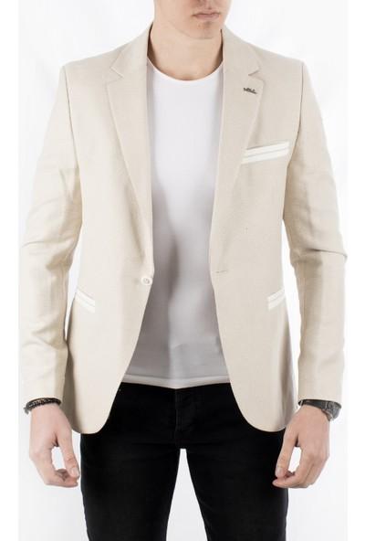 Deepsea Bej Kuşgözü Slim fit Yeni Sezon Blazer Erkek Ceket 1801955