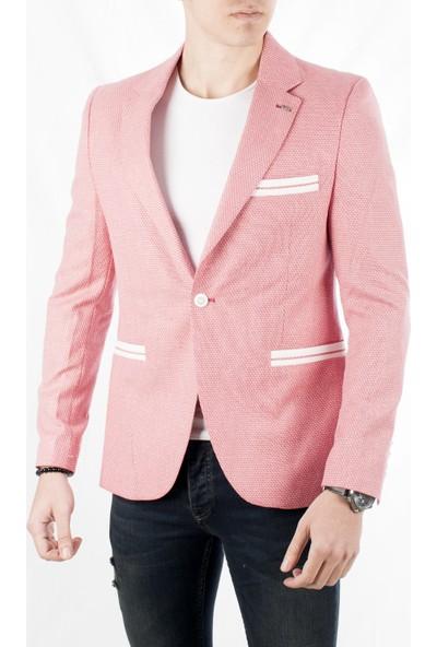 Deepsea Kırmızı Kuşgözü Slim fit Yeni Sezon Blazer Erkek Ceket 1801955