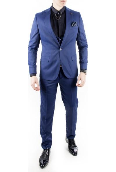 Deepsea Saks Mavi Kendinden Nokta İtalyan Kesim 3'lü Erkek Takım Elbise 1810728