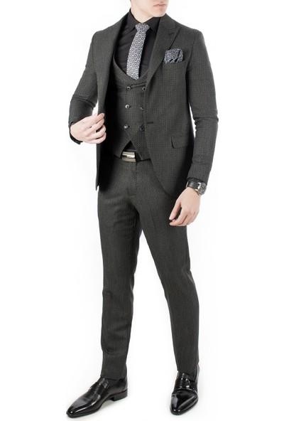 Deepsea Siyah Yuvarlak Dar Kesim Erkek Takım Elbise 1801132