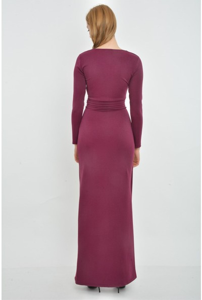 Kalopya 3952 Selen V Yaka Yırtmaçlı Simli Elbise