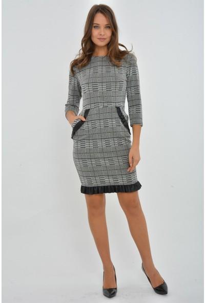 Kalopya 3921 Repil Ekose Fırfırlı Elbise