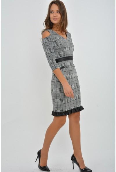 Kalopya 3920 Beri Ekose Ve Yakalı Elbise