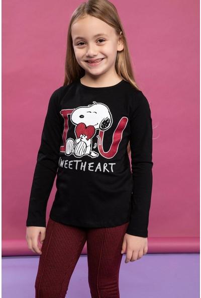 Defacto Kız Çocuk Snoopy Baskılı Lisanslı Uzun Kollu T-Shirt