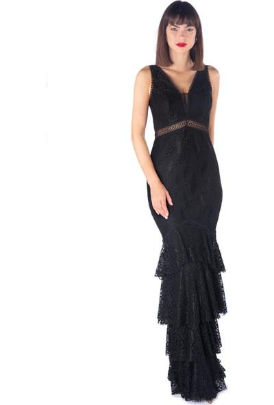 Pierre Cardin Siyah Dantelli Eteği Katlı Uzun Abiye Elbise