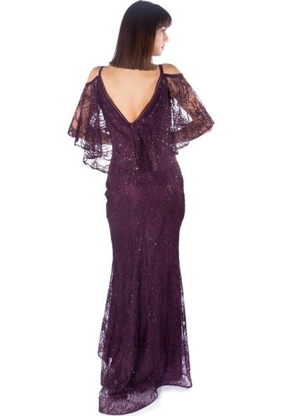 Carmen Mürdüm Arkası Pelerinli Uzun Abiye Elbise