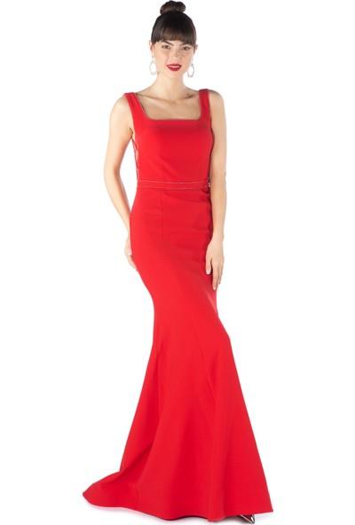 Pierre Cardin Kırmızı Düz Krep Kare Yaka Balık Abiye Elbise