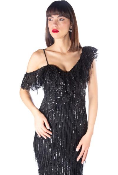 Pierre Cardin Siyah Payetli Düşük Omuz Balık Abiye Elbise