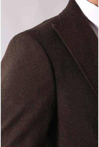 Wessi Tek Düğme Sivri Yaka Kahverengi Ceket