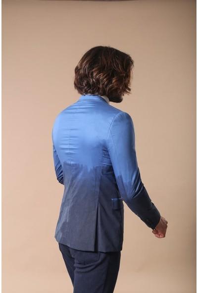 Wessi Pamuk Gazi Dikişli Mavi Ceket