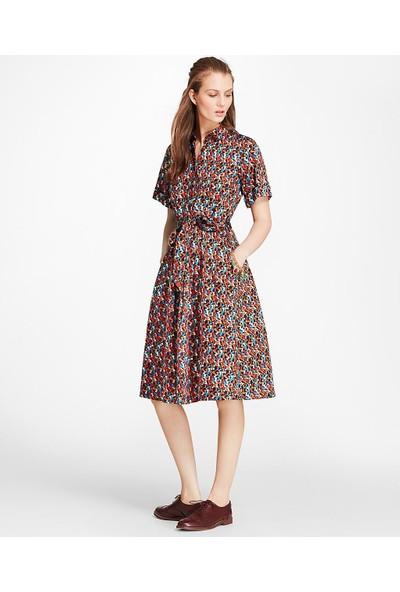 Brooks Brothers Gömlek Yaka Maksi Desenli Elbise