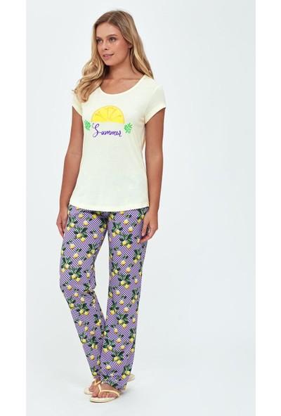 Dagi Kadın Modal Limon Emp. O Yaka Kısa Kol Pijama Takımı Sarı