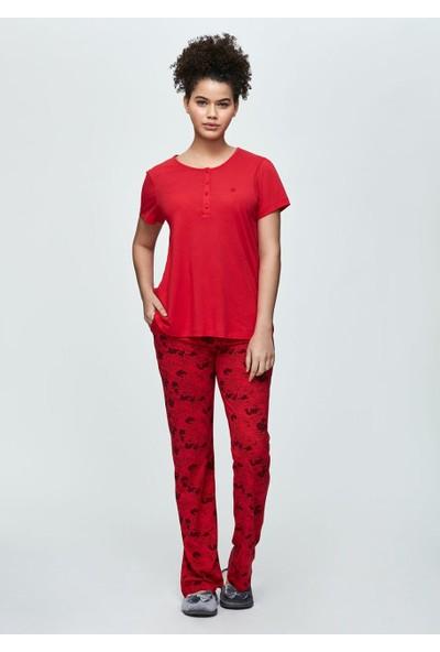 Dagi Kadın Modal Kırmızı O Patlı Kısa Kol Pijama Takımı