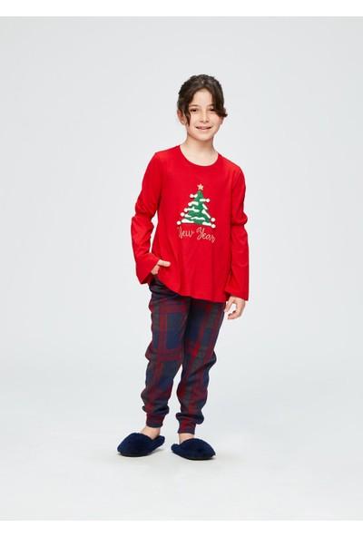 Dagi Kız Çocuk İnterlok Altı Jakarlı Uzun Kol Pijama Takımı Kırmızı
