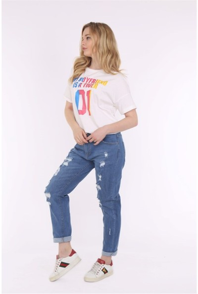 Her Mod'A Bir Moda Kadın Yırtık Kot Pantolon