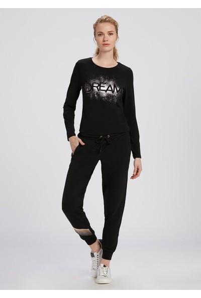 Dagi Kadın Baskılı Uzun Kol T-Shirt Siyah