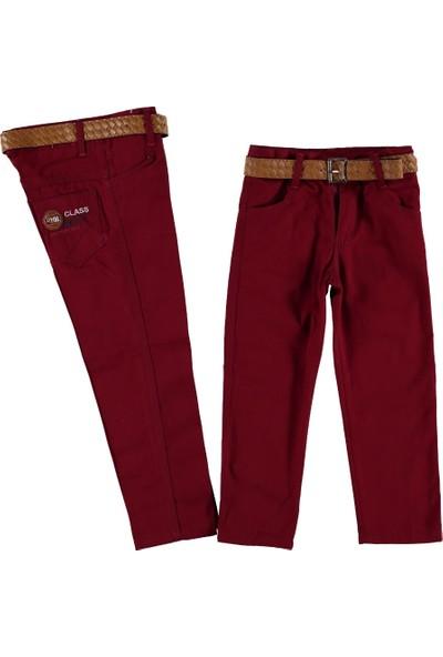 Class Renkli Keten Pantalon Bordo 12 Yaş