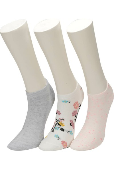 Miss F Flower 3 Lu Ptk-W Ekru Kadın Patik Çorap