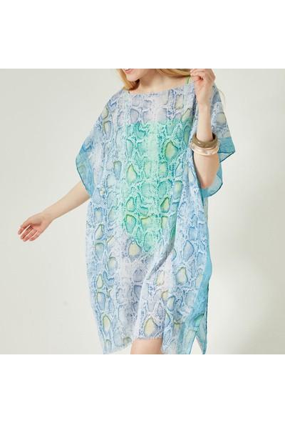Nesway 11621-1 Mavi Pareo 67Z Mavi Kadın Elbise