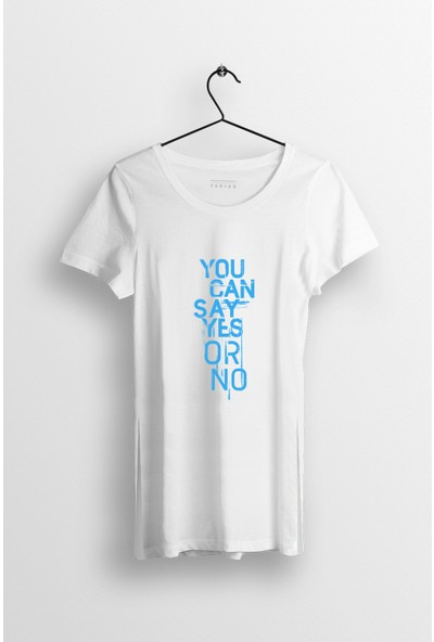 Tshigo You Can Say Yes or No Baskılı Yırtmaçlı Oversize Kadın T-Shirt