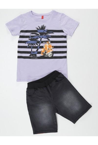Ollie&Olla Erkek Çocuk Palm&Moto Kot Şort Takım