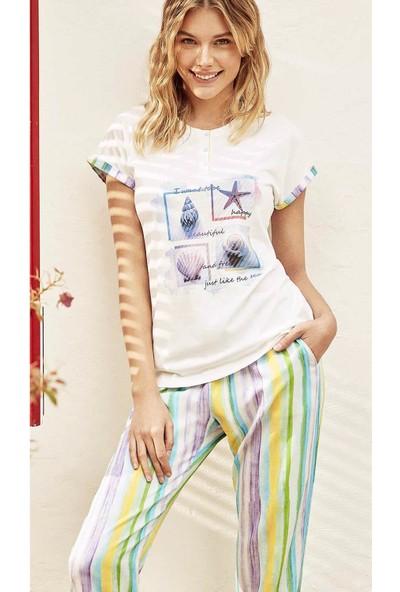 Cotbox Cb9001 Kadın Pijama Takımı Ekru