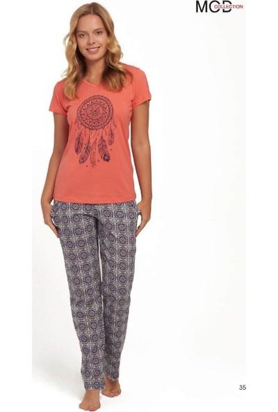 Mod 3141 Kadın Kısa Kollu V Yaka Pijama Takımı